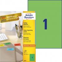 Etykiety trwałe kolorowe Avery Zweckform; A4, 100 ark./op., 210 x 297 mm, zielone, Etykiety do organizowania i archiwizowania, Etykiety