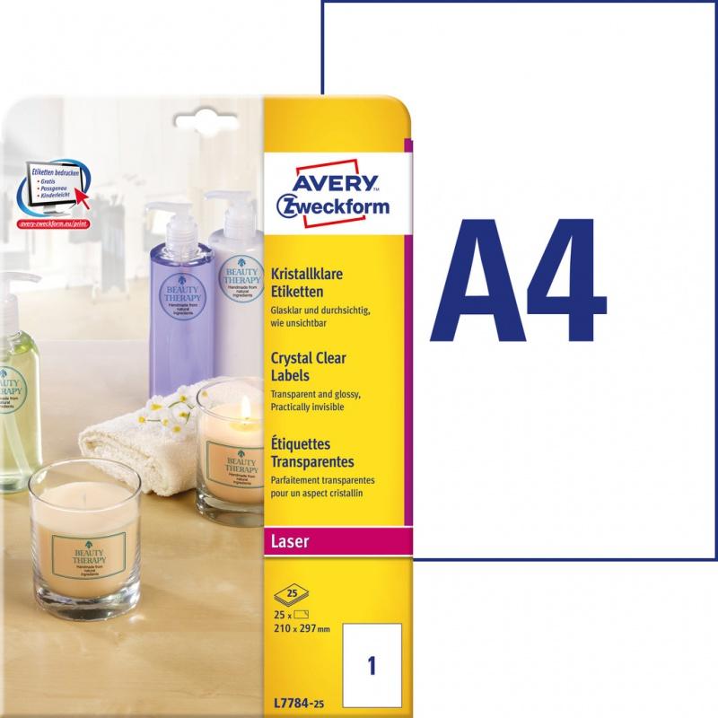 Etykiety przezroczyste Crystal Clear Avery Zweckform; A4, 25 ark./op., 210 x 297 mm, Etykiety do oznaczania, Etykiety