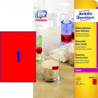 Etykiety neonowe Avery Zweckform; A4, 25 ark./op., 210 x 297 mm, czerwone neonowe, Etykiety, Papier i galanteria papiernicza