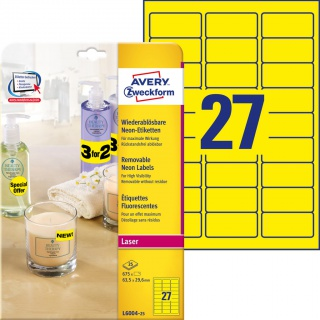 Usuwalne etykiety neonowe Avery Zweckform; A4, 25 ark./op., 63,5 x 29,6 mm, żółte neonowe, Etykiety do oznaczania, Etykiety