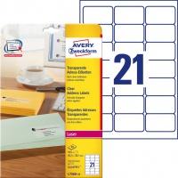Etykiety adresowe przezroczyste Avery Zweckform; A4, 25 ark./op., 63,5 x 38,1 mm, Etykiety na listy i koperty, Etykiety