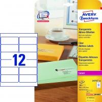 Etykiety adresowe przezroczyste Avery Zweckform; A4, 25 ark./op., 99,1 x 42,3 mm, Etykiety, Papier i galanteria papiernicza
