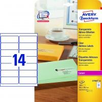 Etykiety adresowe przezroczyste Avery Zweckform; A4, 25 ark./op., 99,1 x 38,1 mm, Etykiety, Papier i galanteria papiernicza