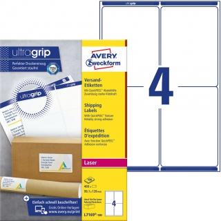 Białe etykiety wysyłkowe Avery Zweckform; A4, 100 ark./op., 99,1 x 139 mm, Etykiety na paczki i przesyłki, Etykiety