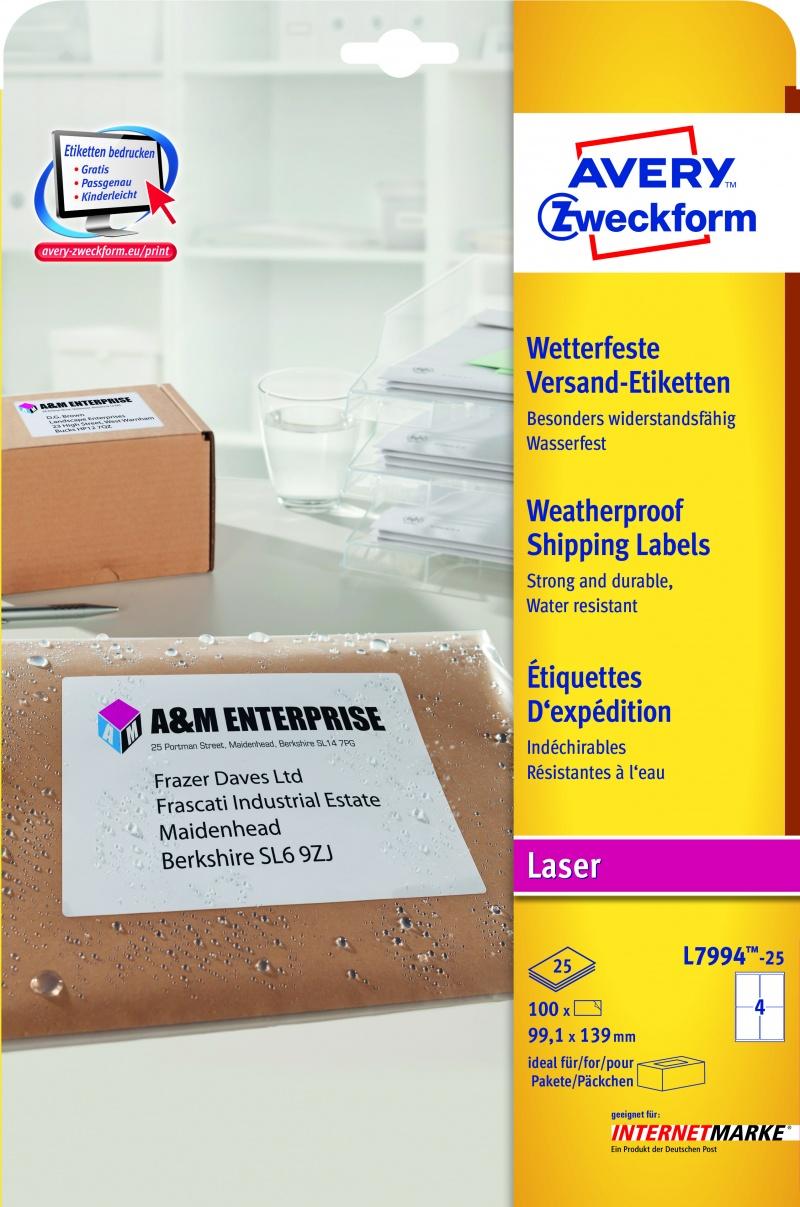 Etykiety wysyłkowe odporne na zmiany pogodowe Avery Zweckform; A4, 25 ark./op., 99,1 x 139 mm, białe, Etykiety, Papier i galanteria papiernicza