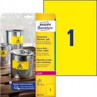Etykiety Heavy Duty Avery Zweckform; A4, 20 ark./op., 210 x 297 mm, żółte, poliestrowe, Etykiety ochronne i zabezpieczające, Etykiety