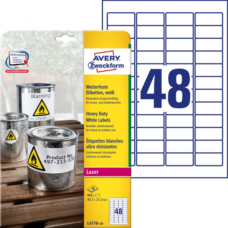 Etykiety Heavy Duty Avery Zweckform; A4, 20 ark./op., 45,7 x 21,2 mm, białe, poliestrowe, Etykiety ochronne i zabezpieczające, Etykiety