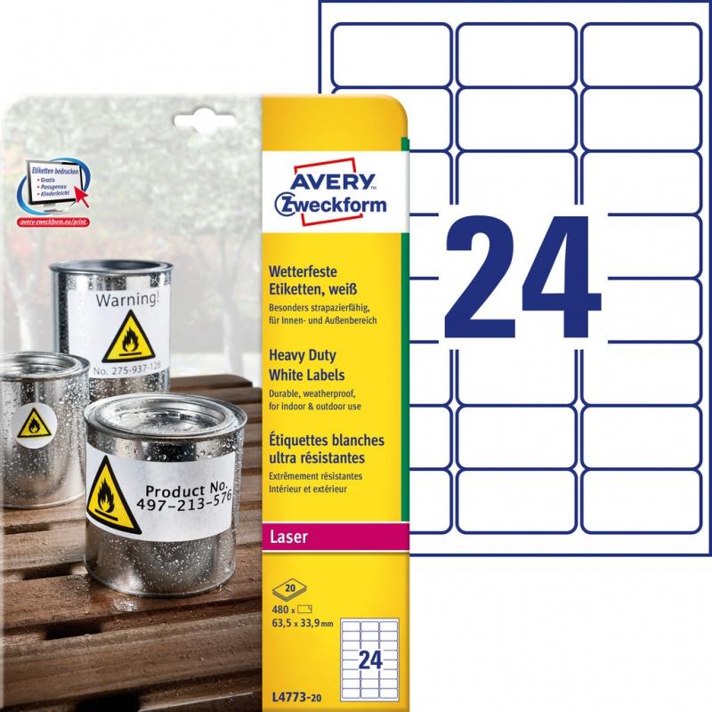 Etykiety Heavy Duty Avery Zweckform; A4, 20 ark./op., 63,5 x 33,9 mm, białe, poliestrowe, Etykiety ochronne i zabezpieczające, Etykiety
