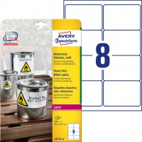 Etykiety Heavy Duty Avery Zweckform; A4, 20 ark./op., 99,1 x 67,7 mm, białe, poliestrowe, Etykiety ochronne i zabezpieczające, Etykiety