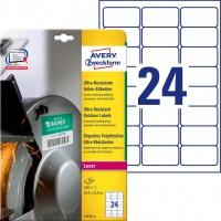 Etykiety polietylenowe ultra resistant Avery Zweckform, A4, 10 ark./op., 63,5 x 33,9mm, białe, Etykiety ochronne i zabezpieczające, Etykiety