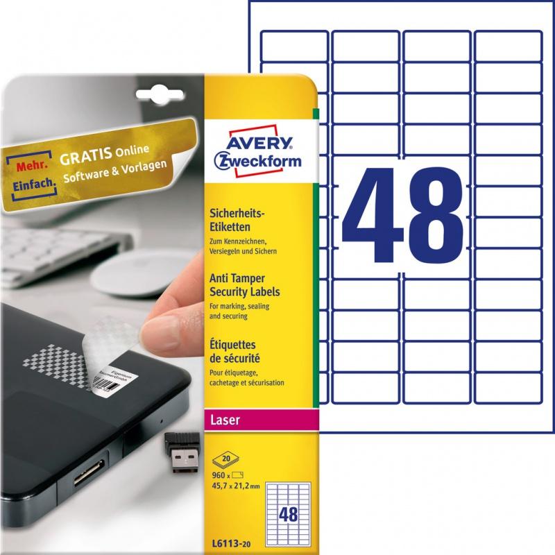 Etykiety zabezpieczające - plomby Avery Zweckform; A4, 20 ark./op., 45,7 x 21,2 mm, białe, poliestrowe, Etykiety ochronne i zabezpieczające, Etykiety