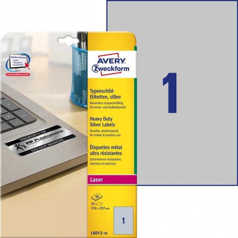 Etykiety znamionowe srebrne Avery Zweckform; A4, 20 ark./op., 210 x 297 mm, poliestrowe, Etykiety ochronne i zabezpieczające, Etykiety