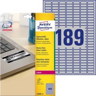 Etykiety znamionowe srebrne Avery Zweckform; A4, 20 ark./op., 25,4 x 10 mm, poliestrowe, Etykiety ochronne i zabezpieczające, Etykiety