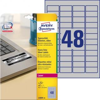 Etykiety znamionowe srebrne Avery Zweckform; A4, 20 ark./op., 45,7 x 21,2 mm, poliestrowe, Etykiety ochronne i zabezpieczające, Etykiety