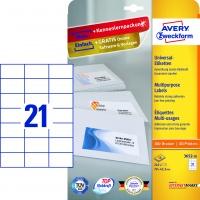 Trwałe etykiety uniwersalne Avery Zweckform; A4, 10 ark./op., 70 x 42,3 mm, białe, Etykiety, Papier i galanteria papiernicza