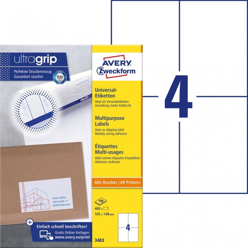 Trwałe etykiety uniwersalne Avery Zweckform; A4, 100 ark./op., 105 x 148 mm, białe, Etykiety uniwersalne, Etykiety