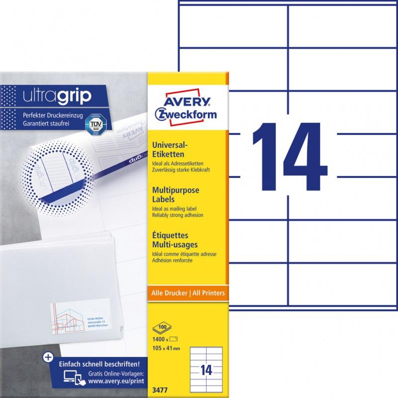 Trwałe etykiety uniwersalne Avery Zweckform; A4, 100 ark./op., 105 x 41 mm, białe, Etykiety uniwersalne, Etykiety