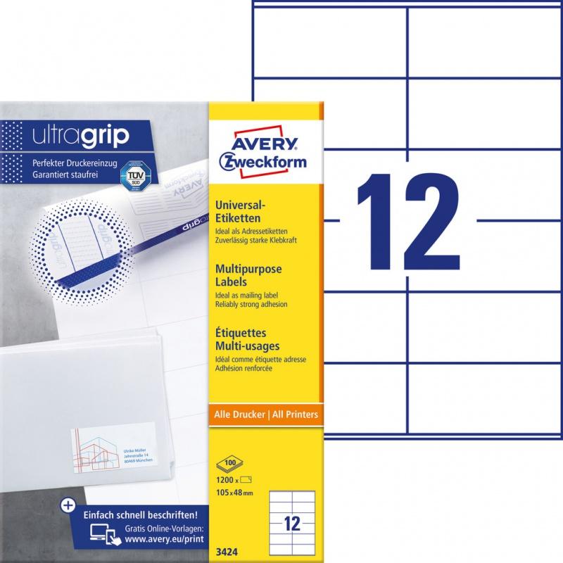 Trwałe etykiety uniwersalne Avery Zweckform; A4, 100 ark./op., 105 x 48 mm, białe, Etykiety uniwersalne, Etykiety