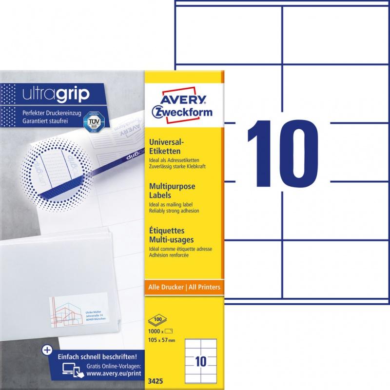 Trwałe etykiety uniwersalne Avery Zweckform; A4, 100 ark./op., 105 x 57 mm, białe, Etykiety uniwersalne, Etykiety
