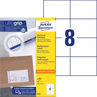 Trwałe etykiety uniwersalne Avery Zweckform; A4, 100 ark./op., 105 x 74 mm, białe, Etykiety uniwersalne, Etykiety