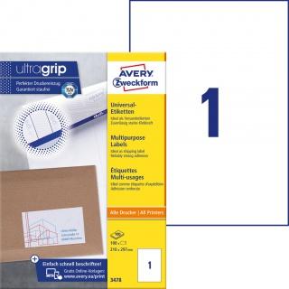 Trwałe etykiety uniwersalne Avery Zweckform; A4, 100 ark./op., 210 x 297 mm, białe, Etykiety uniwersalne, Etykiety