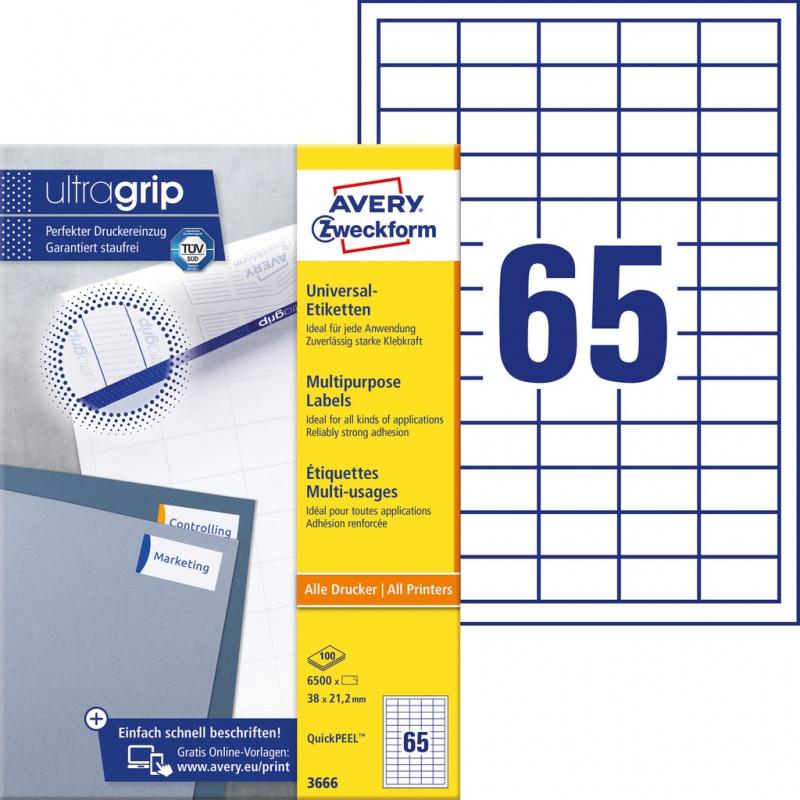 Trwałe etykiety uniwersalne Avery Zweckform; A4, 100 ark./op., 38 x 21,2 mm, białe, Etykiety uniwersalne, Etykiety