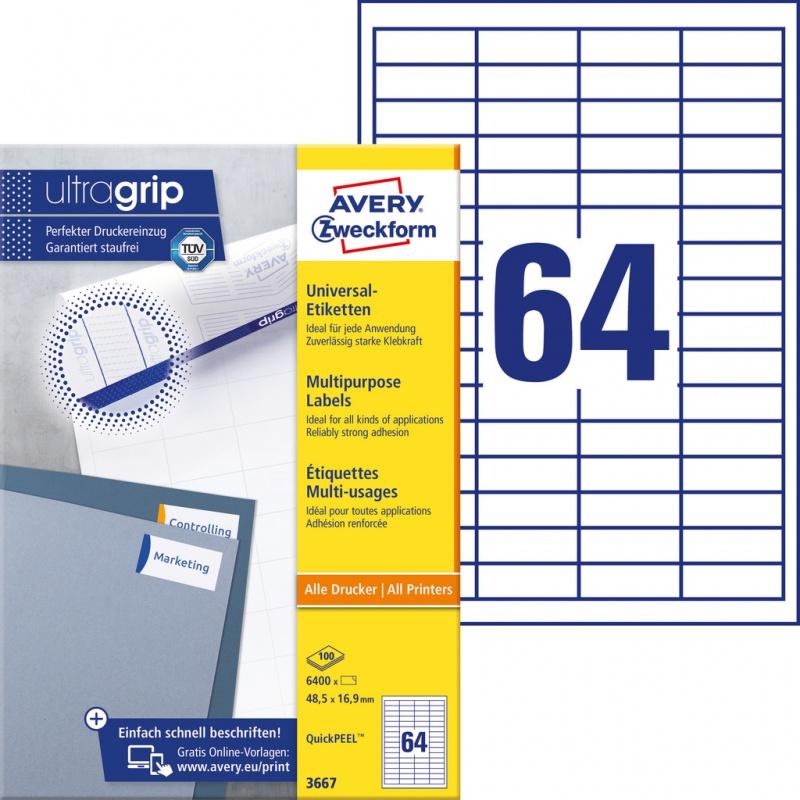 Trwałe etykiety uniwersalne Avery Zweckform; A4, 100 ark./op., 48,5 x 16,9 mm, białe, Etykiety uniwersalne, Etykiety