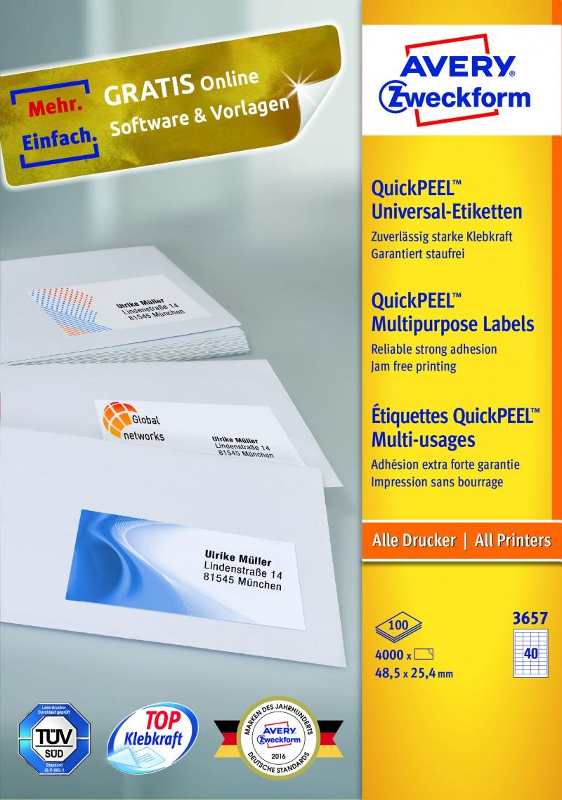 Trwałe etykiety uniwersalne Avery Zweckform; A4, 100 ark./op., 48,5 x 25,4 mm, białe, Etykiety, Papier i galanteria papiernicza