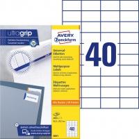 Trwałe etykiety uniwersalne Avery Zweckform; A4, 100 ark./op., 52,5 x 29,7 mm, białe, Etykiety uniwersalne, Etykiety