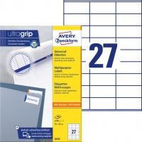 Trwałe etykiety uniwersalne Avery Zweckform; A4, 100 ark./op., 70 x 32 mm, białe, Etykiety uniwersalne, Etykiety