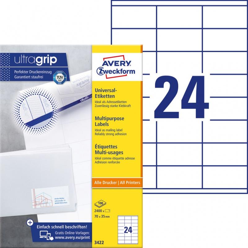 Trwałe etykiety uniwersalne Avery Zweckform; A4, 100 ark./op., 70 x 35 mm, białe, Etykiety uniwersalne, Etykiety