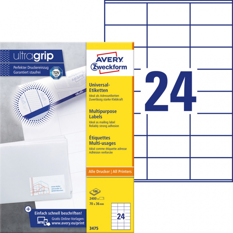 Trwałe etykiety uniwersalne Avery Zweckform; A4, 100 ark./op., 70 x 36 mm, białe, Etykiety uniwersalne, Etykiety