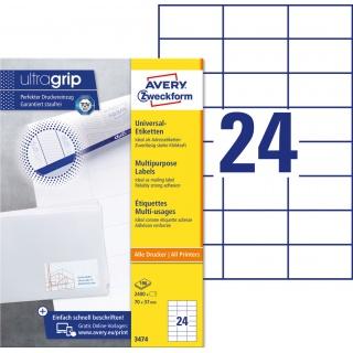 Trwałe etykiety uniwersalne Avery Zweckform; A4, 100 ark./op., 70 x 37 mm, białe, Etykiety uniwersalne, Etykiety