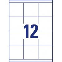 Trwałe etykiety uniwersalne Avery Zweckform; A4, 100 ark./op., 70 x 67,7 mm, białe, Etykiety uniwersalne, Etykiety