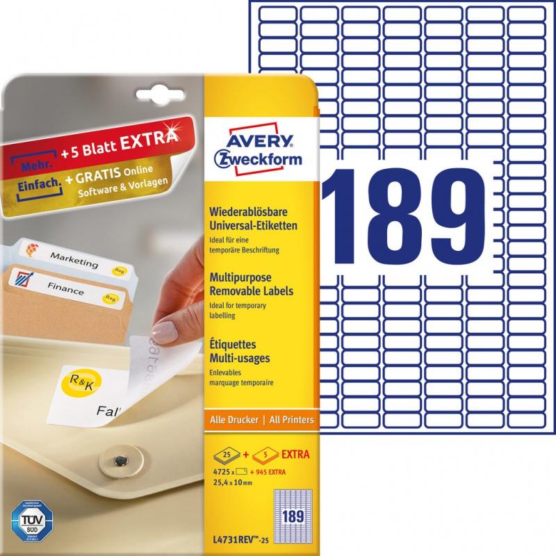 Usuwalne etykiety uniwersalne Avery Zweckform; A4, 30 ark./op., 25,4 x 10 mm, białe, Etykiety uniwersalne, Etykiety