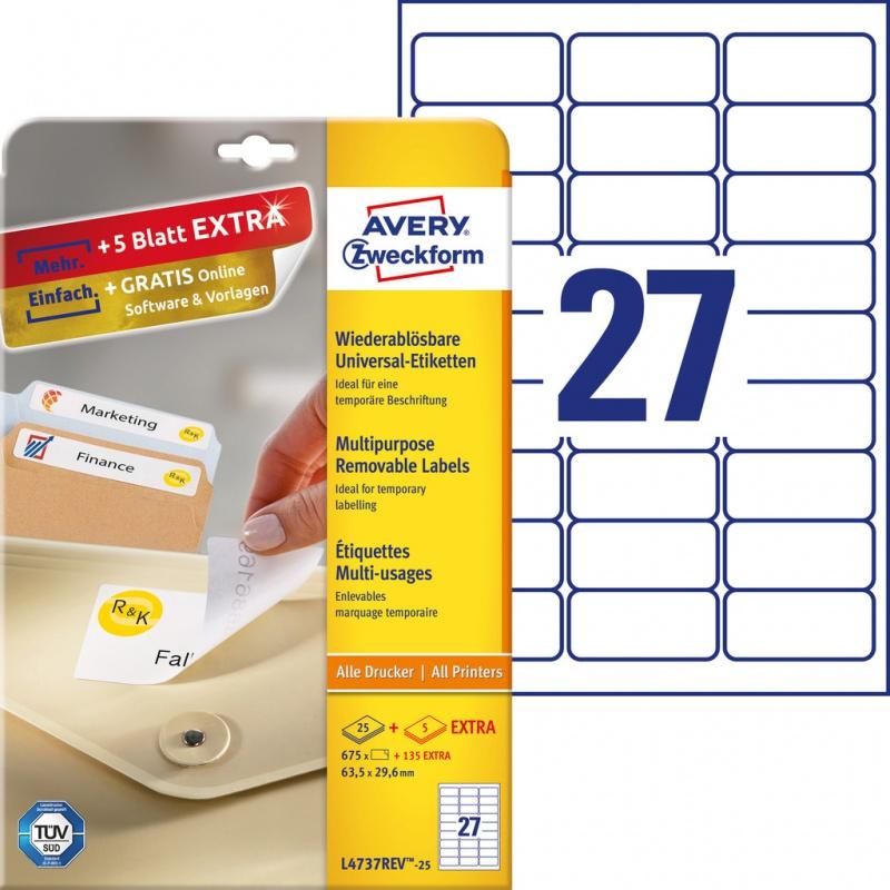Usuwalne etykiety uniwersalne Avery Zweckform; A4, 30 ark./op., 63,5 x 29,6 mm, białe, Etykiety uniwersalne, Etykiety