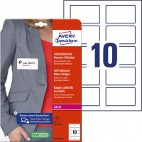 Samoprzylepne identyfikatory do zadruku Avery Zweckform; A4, 20 ark./op., 80 x 50 mm, białe, sztuczny jedwab, Identyfikatory imienne, Etykiety