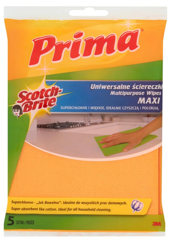 """Ściereczki uniwersalne PRIMA Maxi """"Jak bawełna"""", 5szt., żółte, Akcesoria do sprzątania, Artykuły higieniczne i dozowniki"""