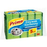 Gąbka do zmywania PRIMA, uniwersalna, 5szt., zielona, Akcesoria do sprzątania, Artykuły higieniczne i dozowniki