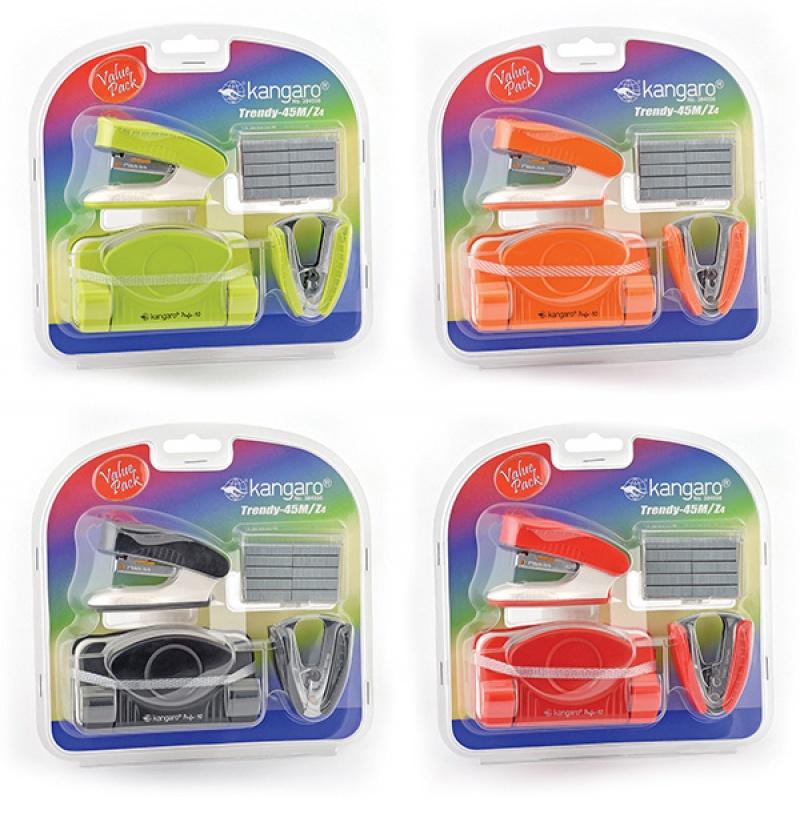 Zestaw KANGARO Trendy-45M/Z4, 4w1, blister, mix kolorów, Zestawy, Drobne akcesoria biurowe