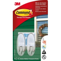 Reusable hooks, COMMAND™ Outdoor (17091CLR-AWCEE), medium, 2 pcs, transparent