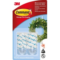 Reusable hooks, COMMAND™ (17091CLR PL), medium, 2 pcs, transparent