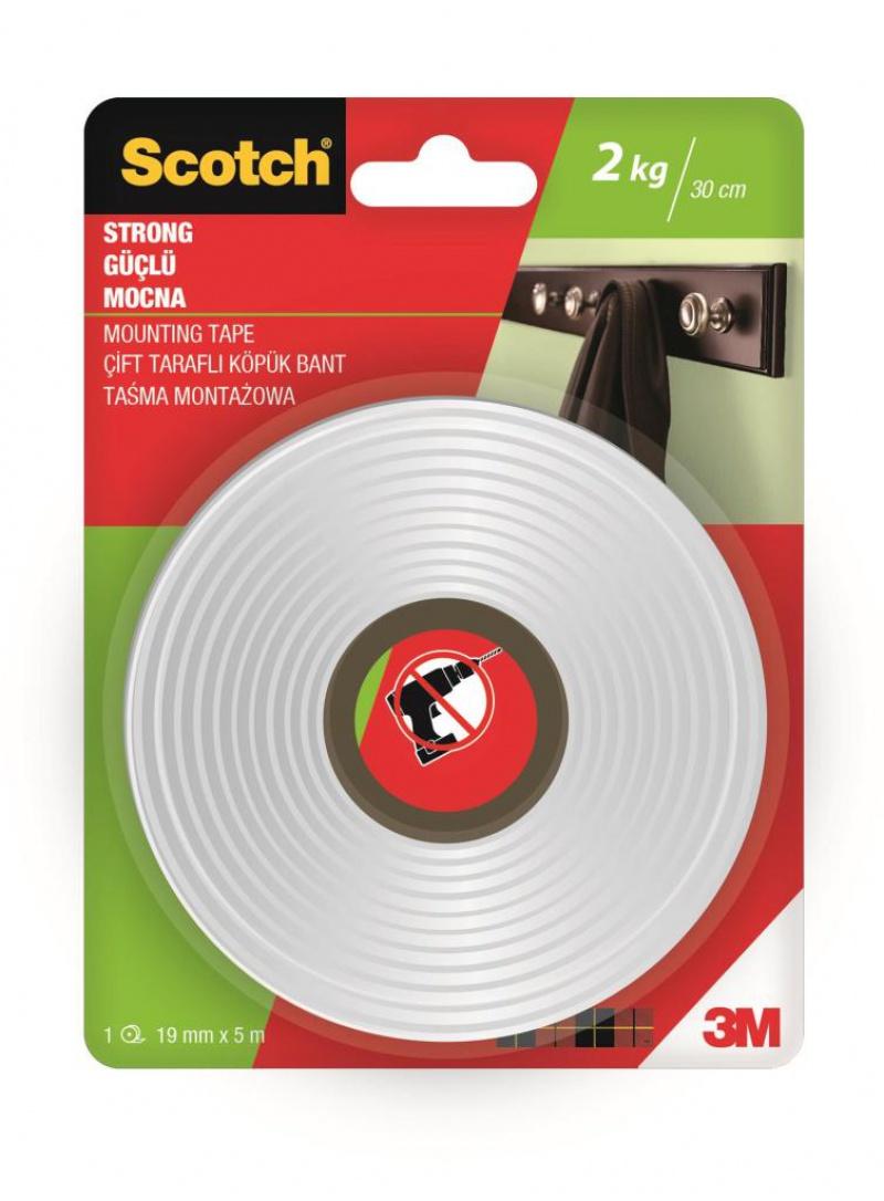 Taśma montażowa SCOTCH®, mocna, 19mm x 5m, biała, Taśmy specjalne, Drobne akcesoria biurowe