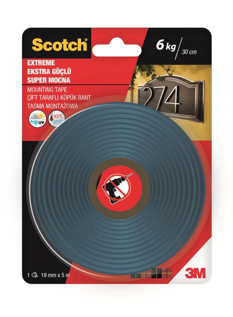 Taśma montażowa SCOTCH®, super mocna, 19mm x 5m, czarna, Taśmy specjalne, Drobne akcesoria biurowe