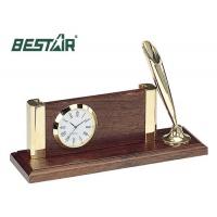 Wizytownik z zegarem i stojakiem na długopis Bestar orzech, Wizytowniki, Drobne akcesoria biurowe