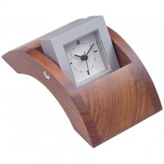 Obrotowy zegar na biurko Bestar orzech, Zegary, Wyposażenie biura
