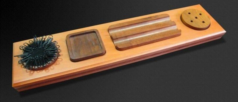 Podstawka na pióro z kałamarzem Bestar wiśnia, Przyborniki na biurko, Drobne akcesoria biurowe