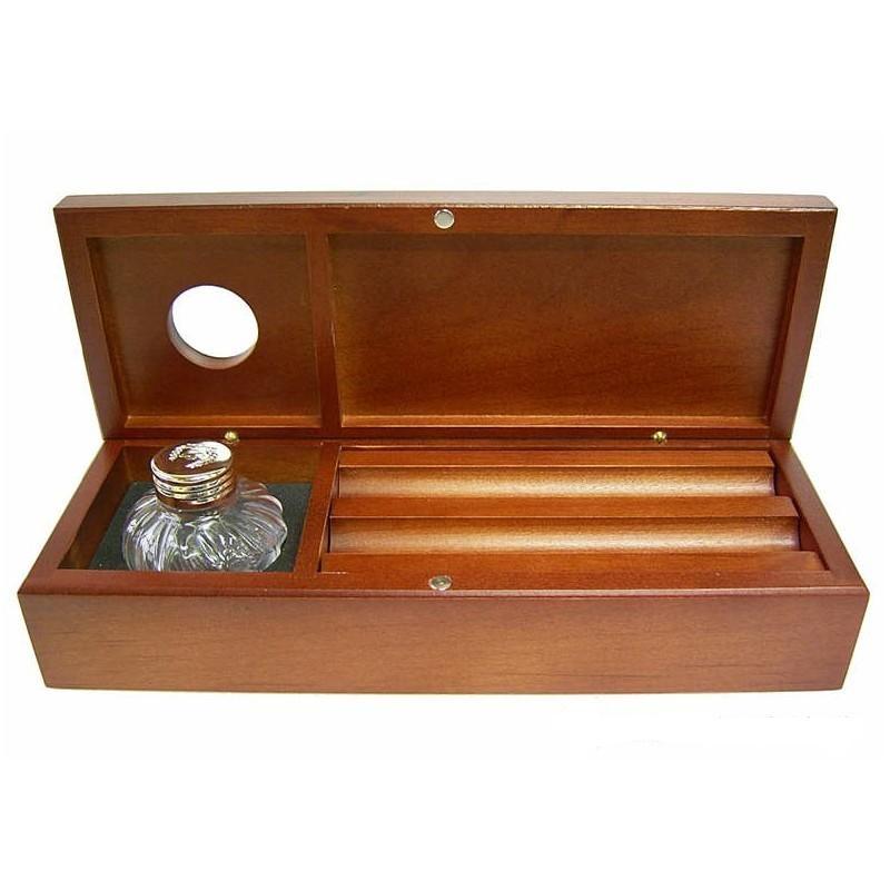 Pudełko na pióro z kałamarzem Bestar wiśnia, Przyborniki na biurko, Drobne akcesoria biurowe