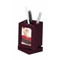 Obrotowy pojemnik na długopisy z ramką na zdjęcie Bestar mahoń, Przyborniki na biurko, Drobne akcesoria biurowe