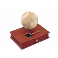 """Globe 5 """" szkatułka + lupa Bestar ciemna wiśnia, Globusy, Wyposażenie biura"""